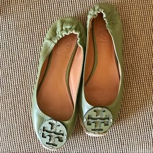 Tory Burch Leather Green Espadrille Flats